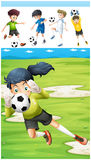 Football players in the field. Illustration Stock Image