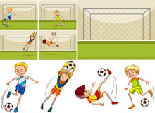 Football players in the field. Illustration Stock Photo