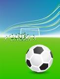 Football players on field, soccer ball. Vector illustration Stock Image