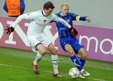 Football players fight for the ball Champions League game Otelul Galati-FC Basel Stock Photo