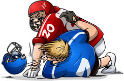 Football Players Fight and Punch. Vector illustration of two football players fighting Stock Image
