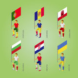Football players with flag: Poland, Andorra, Gibraltar, Croatia, Stock Photo