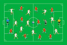 Football players on a green field. Soccer players on different positions playing football on a stadium. Spectacular. Sport. Colorful flat style illustration Royalty Free Stock Images
