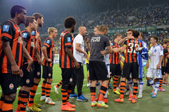 Football players are greeting each other after the match Royalty Free Stock Images