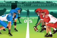 Football players in a match. A vector illustration of football players in a match in a stadium Stock Image