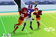 Football players in a match. A vector illustration of football players in a match in a stadium Royalty Free Stock Image