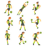 Football Players Of One Team With Ball  Illustration Set Stock Image