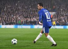Eden Hazard. Football players pictured during the UEFA Champions League Group C game between Chelsea FC and AS Roma on October 18, 2017 at Stamford Bridge Royalty Free Stock Photo