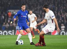 Eden Hazard. Football players pictured during the UEFA Champions League Group C game between Chelsea FC and AS Roma on October 18, 2017 at Stamford Bridge Royalty Free Stock Images
