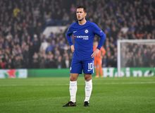 Eden Hazard. Football players pictured during the UEFA Champions League Group C game between Chelsea FC and AS Roma on October 18, 2017 at Stamford Bridge stock image