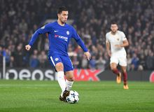 Eden Hazard. Football players pictured during the UEFA Champions League Group C game between Chelsea FC and AS Roma on October 18, 2017 at Stamford Bridge Stock Photo
