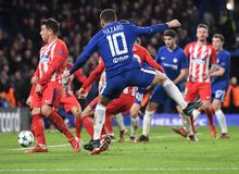 Eden Hazard. Football players pictured during the UEFA Champions League Group C game between Chelsea FC and Atletico Madrid on December 5, 2017 at Stamford Royalty Free Stock Images
