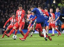 Eden Hazard. Football players pictured during the UEFA Champions League Group C game between Chelsea FC and Atletico Madrid on December 5, 2017 at Stamford Stock Photography