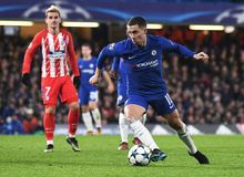 Eden Hazard. Football players pictured during the UEFA Champions League Group C game between Chelsea FC and Atletico Madrid on December 5, 2017 at Stamford Stock Image