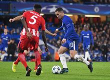 Eden Hazard. Football players pictured during the UEFA Champions League Group C game between Chelsea FC and Atletico Madrid on December 5, 2017 at Stamford Royalty Free Stock Photography