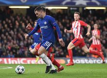 Eden Hazard. Football players pictured during the UEFA Champions League Group C game between Chelsea FC and Atletico Madrid on December 5, 2017 at Stamford Stock Photos