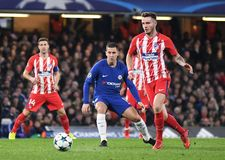 Eden Hazard. Football players pictured during the UEFA Champions League Group C game between Chelsea FC and Atletico Madrid on December 5, 2017 at Stamford royalty free stock photos