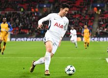 Heung-Min Son. Football players pictured during the UEFA Champions League Group H game between Tottenham Hotspur and APOEL FC on December 6, 2017 at Wembley Stock Image