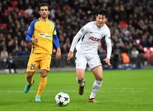 Heung-Min Son. Football players pictured during the UEFA Champions League Group H game between Tottenham Hotspur and APOEL FC on December 6, 2017 at Wembley Stock Photography