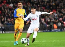 Heung-Min Son. Football players pictured during the UEFA Champions League Group H game between Tottenham Hotspur and APOEL FC on December 6, 2017 at Wembley Royalty Free Stock Images