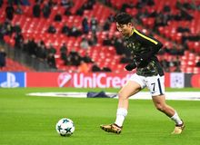Heung-Min Son. Football players pictured during the UEFA Champions League Group H game between Tottenham Hotspur and APOEL FC on December 6, 2017 at Wembley Royalty Free Stock Photo
