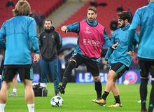 Sergio Ramos. Football players pictured during the UEFA Champions League Group H game between Tottenham Hotspur and Real Madrid on November 1, 2017 at Wembley Stock Photo