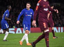 Eden Hazard. Football players pictured during the UEFA Champions League Round of 16 game between Chelsea FC and FC Barcelona held on February 20, 2018 at Stock Images