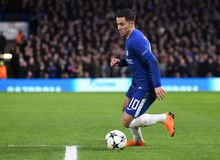 Eden Hazard. Football players pictured during the UEFA Champions League Round of 16 game between Chelsea FC and FC Barcelona held on February 20, 2018 at Royalty Free Stock Images