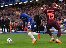 Eden Hazard. Football players pictured during the UEFA Champions League Round of 16 game between Chelsea FC and FC Barcelona held on February 20, 2018 at Stock Photos