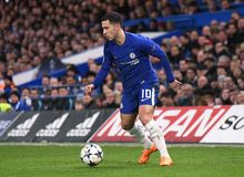 Eden Hazard. Football players pictured during the UEFA Champions League Round of 16 game between Chelsea FC and FC Barcelona held on February 20, 2018 at Stock Image