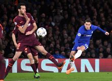 Eden Hazard. Football players pictured during the UEFA Champions League Round of 16 game between Chelsea FC and FC Barcelona held on February 20, 2018 at Royalty Free Stock Image