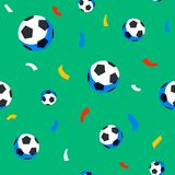 Football players seamless pattern. Sport championship. Soccer players with football ball. Full color background in flat. Football balls and confetti seamless vector illustration