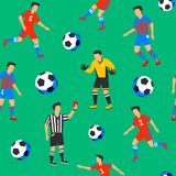 Football players seamless pattern. Sport championship. Soccer players with football ball. Full color background in flat. Football players and balls seamless Stock Photos