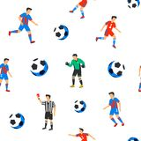 Football players seamless pattern. Sport championship. Soccer players with football ball. Full color background in flat. Style. Russian football cup. Vector Stock Image