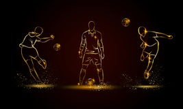 Football players set. Golden linear soccer player illustration Stock Images