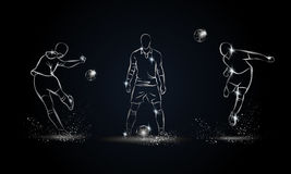 Football players set. Metallic linear soccer player illustration Stock Image