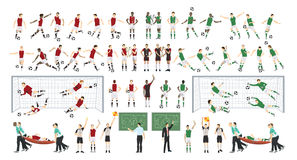 Football players set. Football players set on white background. All kind of players Stock Photos