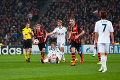 Football of players Shakhtar (Donetsk) and Bayer (Leverkusen) Stock Photography