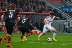 Football of players Shakhtar (Donetsk) and Bayer (Leverkusen) Stock Photos