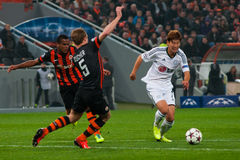 Football of players Shakhtar (Donetsk) and Bayer (Leverkusen) Royalty Free Stock Photos