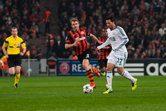 Football of players Shakhtar (Donetsk) and Bayer (Leverkusen) Stock Image