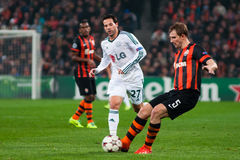 Football of players Shakhtar (Donetsk) and Bayer (Leverkusen) Stock Photo
