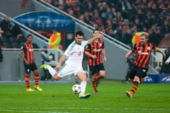 Football of players Shakhtar (Donetsk) and Bayer (Leverkusen) Royalty Free Stock Photo