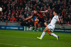 Football of players Shakhtar (Donetsk) and Bayer (Leverkusen) Stock Images