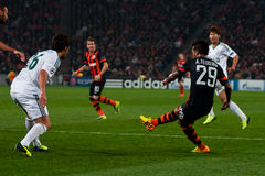 Football of players Shakhtar (Donetsk) and Bayer (Leverkusen) Royalty Free Stock Image