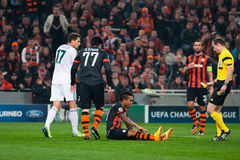 Football of players Shakhtar (Donetsk) and Bayer (Leverkusen) Royalty Free Stock Images