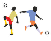 Football players silhouetes Royalty Free Stock Photos