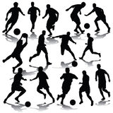 Football players. Silhouettes of football players. Vector illustration Stock Images