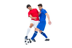 Football players tackling for the ball. On white background Royalty Free Stock Photo