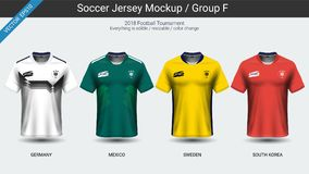 Football players uniform, National team soccer jersey 2018 group F. For your presentation the match results of world championship cup in Russian, Everything is Stock Photography